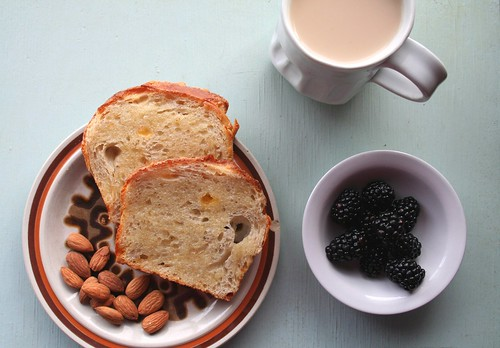 Cheese Bread, Blackberries, Almonds and Coffee