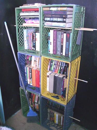 makeshift bookcase