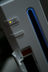 Nintendo Wii: Power and Reset buttons, SD card slot below