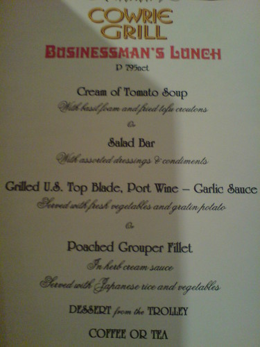 Businessman's Lunch menu