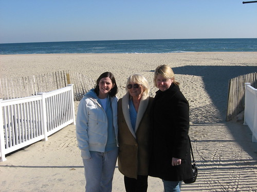 JLo, Aunt Mary, and me on the beach in NJ--January 2008