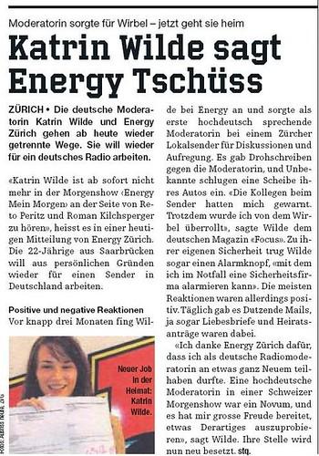 heute.ch vom 17.10.2007 Katrin Wilde verlässt Radio Energy