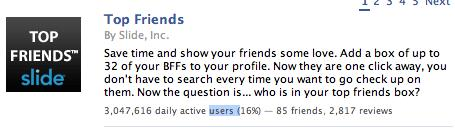 Slide's Top Friends Listing in FB