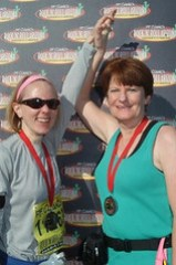 Official Race Pics - Mom and Jill Finish
