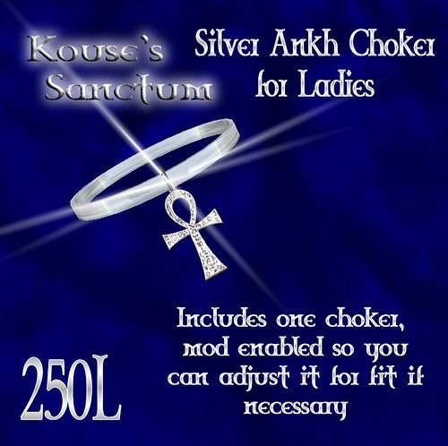 Silver Ankh Choker