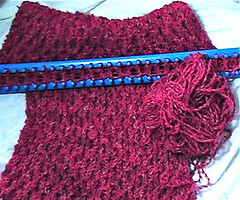 A children's afghan, on the loom