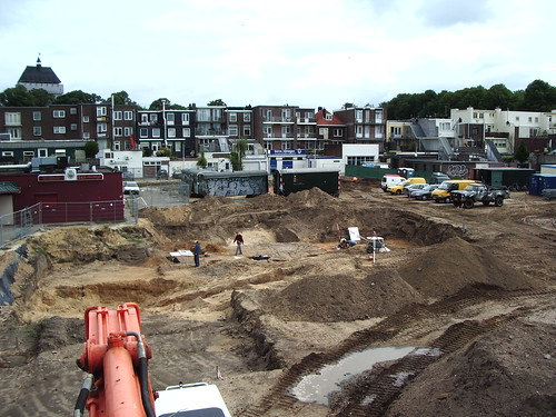 Our excavation site, viewed from a crane.