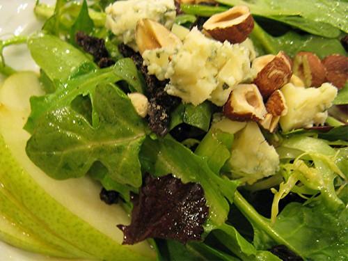 pear, hazelnut and bleu cheese salad