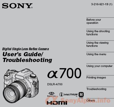sony alpha dslr a700 manual sony alpha dslr information hub rh sonyalpha info sony alpha 700 service manual sony alpha 700 user manual