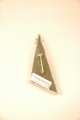 Felt sequin-encrusted Christmas tree pin, loden