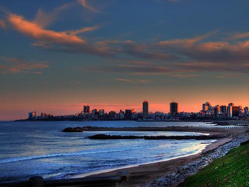 Vista de Mar del Plata al atardecer