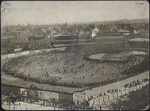 Fans on the field at the Huntington Avenue Grounds, 1903 World Series