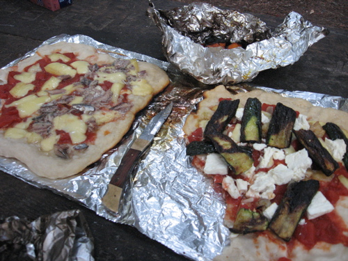 Pizza with grilled vegetables and feta