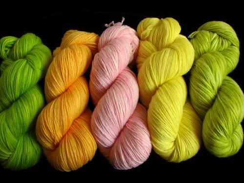 Lime, Cantaloupe, Flamingo, Lemon, and Asparagus Sock Yarns