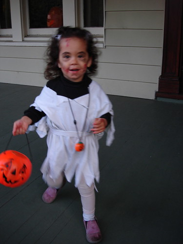 She finally got the hang of trick-or-treating
