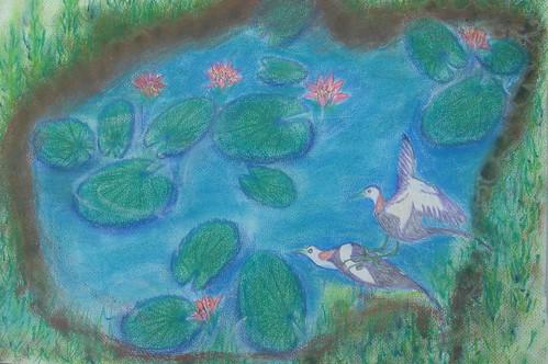 明和_色鉛粉彩_荷塘上之野鳥