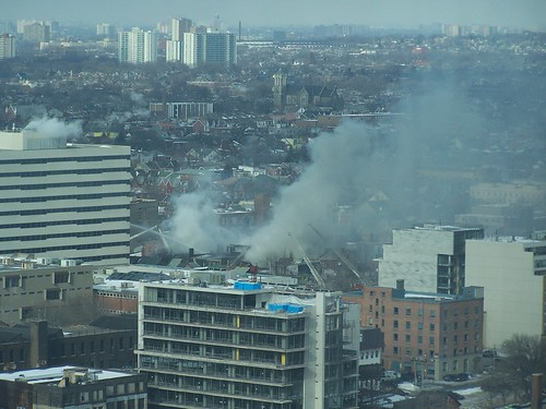 Fire at Queen and Bathurst in Toronto at 10AM