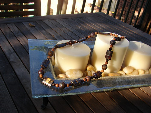 Tiger iron, tiger jasper and glass bead necklace