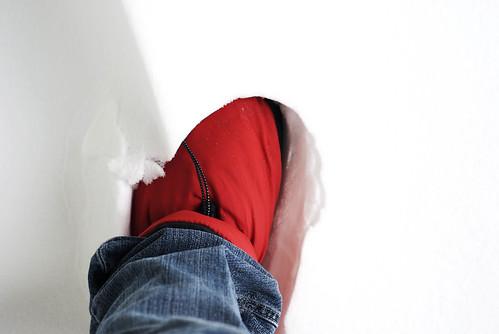 slipper in snow