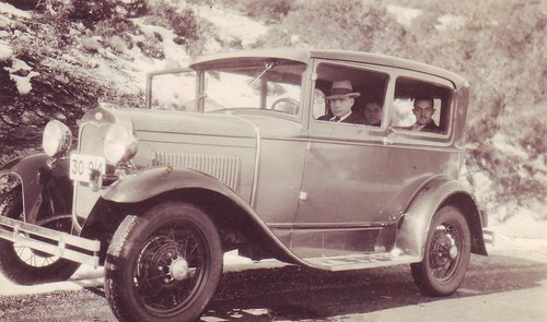 Emmanuela Riginos early automobile of the mid-thirties. Here with his Ford sedan.