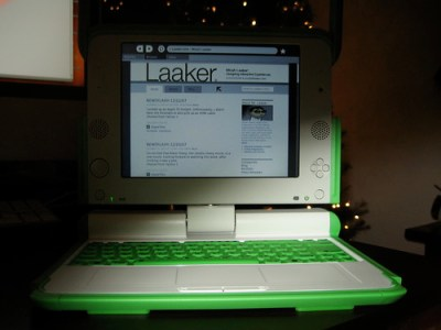 Laaker.com on OLPC laptop screen