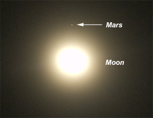 Mars & Moon before Occultation. Click to enlarge