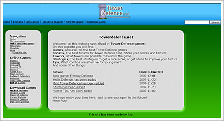 tower defense towerdefense.net screenshot