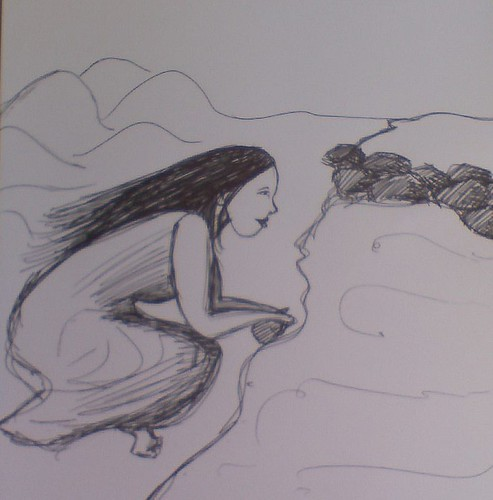 unfinished girl and ocean sketch