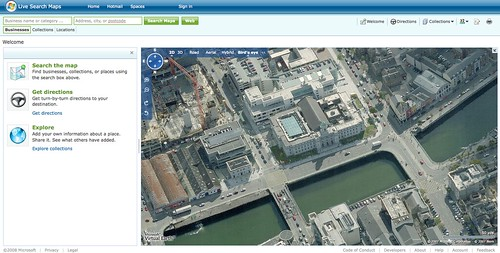 Live Maps Bird's Eye view of Cork City Hall