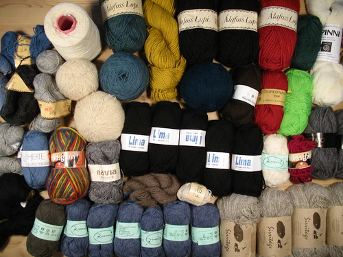My stash of yarn in all colours. Mostly wool.