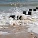 Waves crashing over a post 2