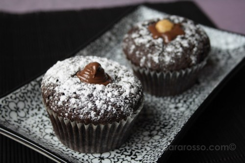 Drunken Devil's Food Espresso Cupcakes with Nutella Filling