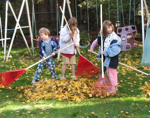The Girls Raking (with friend hiding behind Dot)