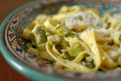Spring pasta with fresh broad beans and farm egg
