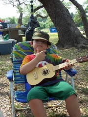 Jaxon with his ukulele (like Dad!)