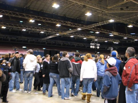 the crowd inside the dome