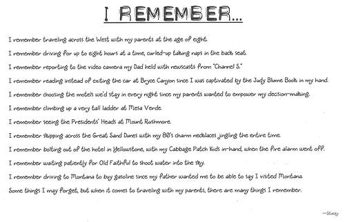 I Remember Poem