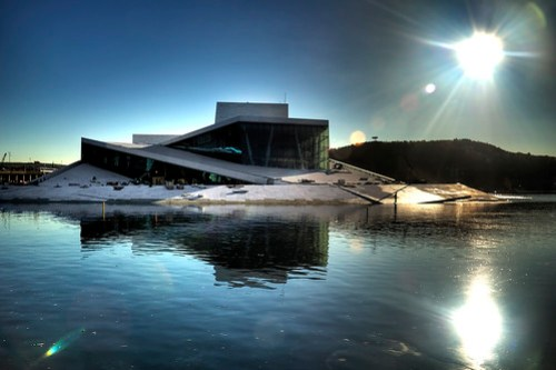A photo of the Opera house in Oslo, Norway