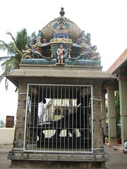 Peacock vahanam at the entrance - Thiruaavinankudi