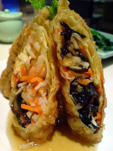 Yauatcha bean curd roll with enoki and cloud ear