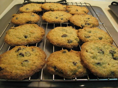 Oatmeal Raisin Cookies Cooling on the Rack