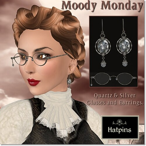 Moody Monday Quartz and Silver Glasses and Earrings Set