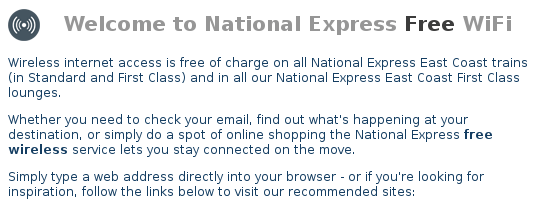 Free Wifi on National Express trains