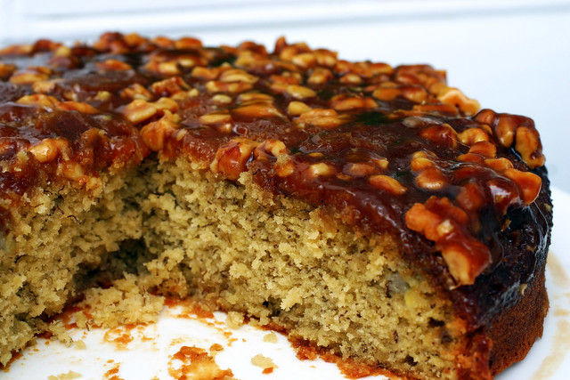 caramel walnut upside down banana cake