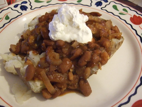 Chili Beans with Onions and Chili Sauce!