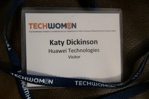 Katy Dickinson TechWomen Huawei badge
