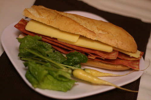 Pear butter, bacon, and sharp chedder on fresh baguette