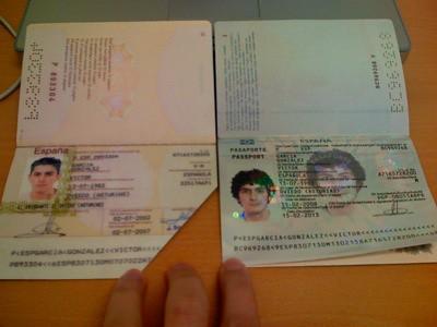 Comparación del pasaporte por dentro
