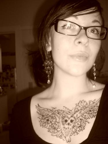 Newest photo →; owl tattoo chest piece