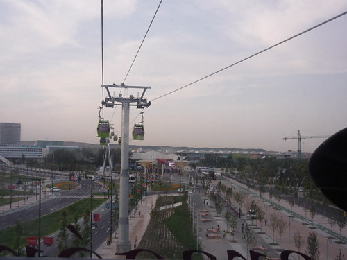 View from the cable car over the Expo 2008